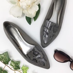 CHRISTIAN SIRIANO for PAYLESS gray snakeskin flats